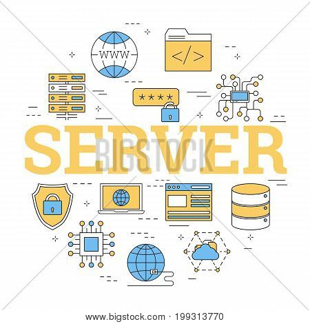 Vector linear round concept of internet server as datacenter. Isolated illustration with outline icons in blue and yellow colors. Square web banner. Reliable storage of information poster