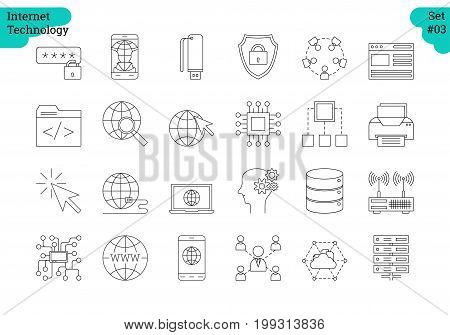 Vector set of 24 linear outline icons. Internet technology isolated pictographs. Startup, computer, office items, setting and user