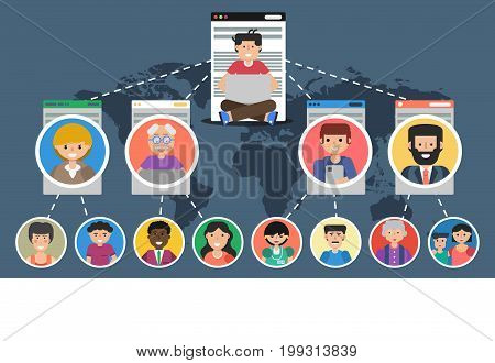 Vector horizontal banner. Concept of blogging, chatting, communication in social networks and successful teamwork. Man with computer in top and many online helpers connected by internet in flat style