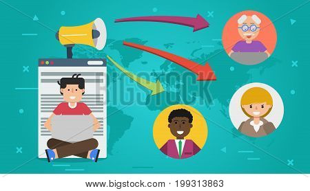 Vector horizontal banner. Concept of blogging, chat online and communication. Man with computer and megaphone writing content for blog in flat style