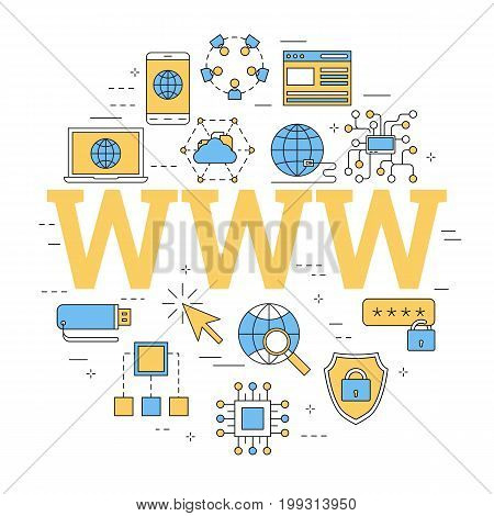 Vector linear round concept of internet with letters WWW. Isolated illustration with outline icons in blue and yellow colors. Square web banner
