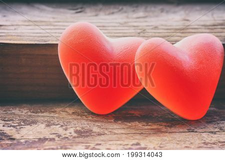 Two sweet marmalade candy heart shape valentine's day composition macro image vintage style
