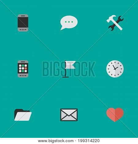 Elements Banner, Tools, Mobile Phone And Other Synonyms Folder, Archive And Love.  Vector Illustration Set Of Simple Menu Icons.
