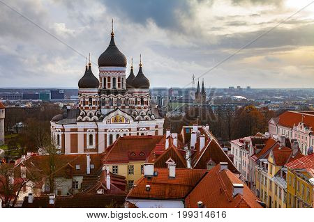 Toompea hill with Russian Orthodox Alexander Nevsky Cathedral, view from the Dome church, Tallinn, Estonia