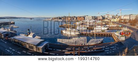 OSLO, NORWAY - 27 FEB 2016. Panoramic view of Oslo Harbor, one of Oslo's great attractions