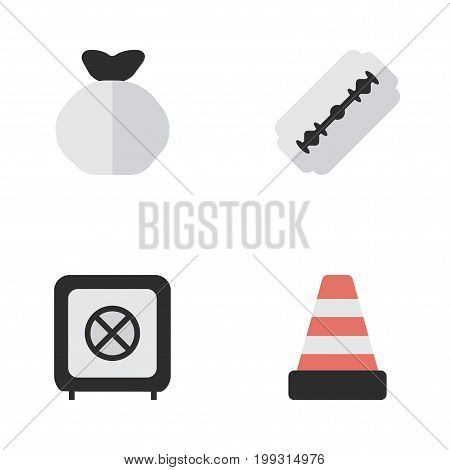 Elements Moneybox, Blade, Vault And Other Synonyms Warning, Shaver And Bag.  Vector Illustration Set Of Simple Criminal Icons.