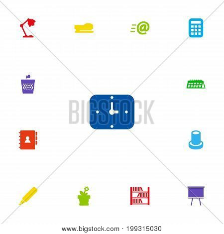 Collection Of Book, Time, Illuminator And Other Elements.  Set Of 13 Office Icons Set.