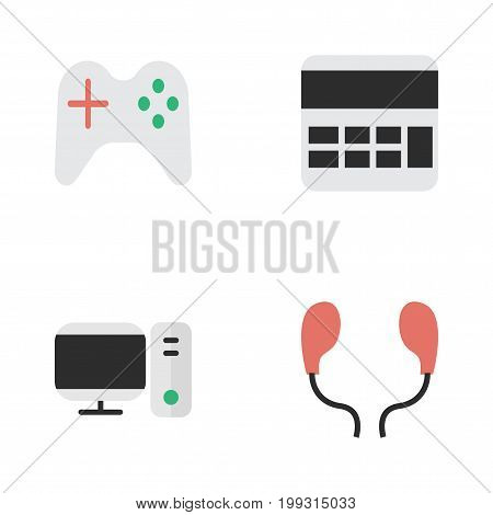 Elements Earphone, Accounting, PC And Other Synonyms Monitor, Calculate And Joystick.  Vector Illustration Set Of Simple Instrument Icons.