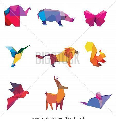 Vector illustration of color origami animals and birds