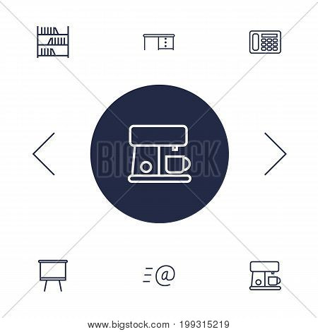Collection Of Email, Coffee Maker, Bookshelf And Other Elements.  Set Of 6 Bureau Outline Icons Set.