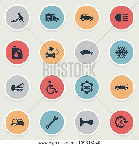 Elements Fuel, Watch, Hoisting Machine And Other Synonyms Oil, Snowflake And Spanner.  Vector Illustration Set Of Simple Automobile Icons.