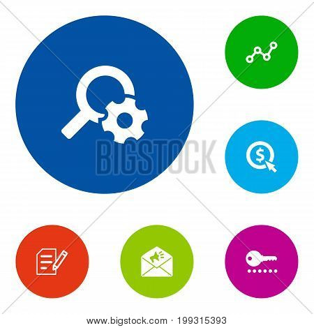 Collection Of Resulting, Author Rights, Searching And Other Elements.  Set Of 6 Optimization Icons Set.