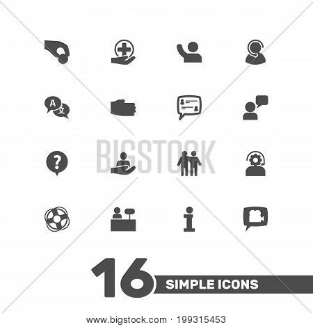 Collection Of Translate, First-Aid, Assistant And Other Elements.  Set Of 16 Maintenance Icons Set.