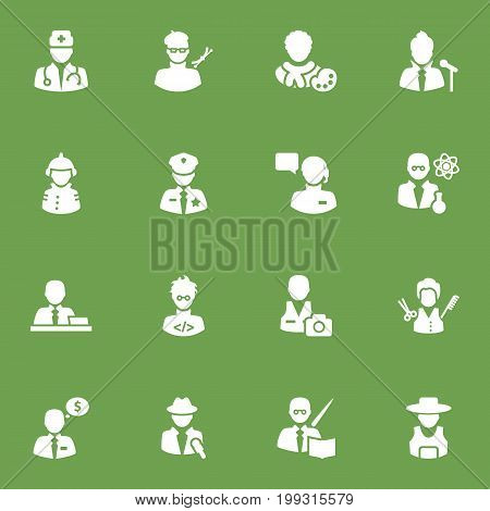 Collection Of Fireman, Coder, Manager And Other Elements.  Set Of 16 Position Icons Set.