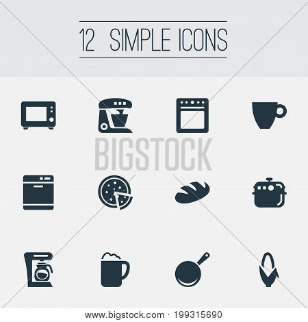 Elements Kitchen Tool, Tortilla, Oven And Other Synonyms Ale, Pot And Pub.  Vector Illustration Set Of Simple Kitchen Icons.