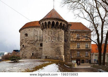 TALLINN, ESTONIA - 10 FEB 2016: The old town Tallinn, Estonia. View of the Fat Margaret tower. UNESCO World Heritage Site