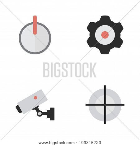 Elements Cogwheel, Supervision, Safe And Other Synonyms Password, Lock And Cogwheel.  Vector Illustration Set Of Simple Criminal Icons.