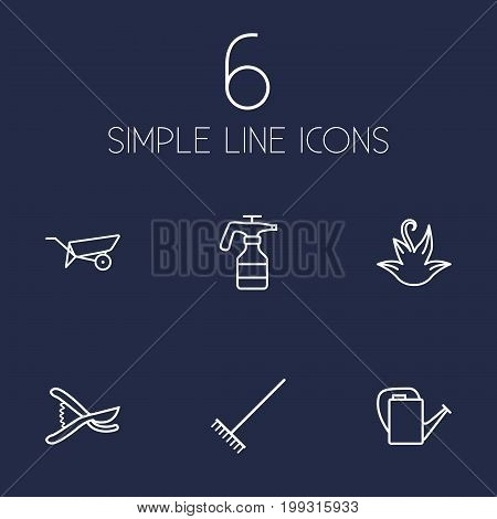 Collection Of Secateurs, Bailer, Atomizer And Other Elements.  Set Of 6 Horticulture Outline Icons Set.