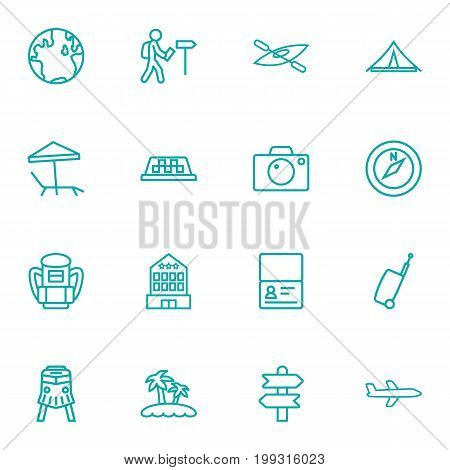 Collection Of Compass, Palm, Globe And Other Elements.  Set Of 16 Journey Outline Icons Set.