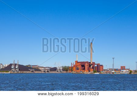 Hanasaari Coal Power Plant in a summer day, Helsinki, Finland