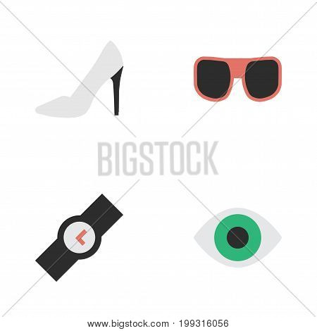Elements View, Eye Accessory, Heel And Other Synonyms Wristwatch, Heel And Accessory.  Vector Illustration Set Of Simple Equipment Icons.