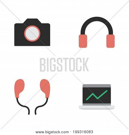 Elements Photo Apparatus, Notebook, Earphone And Other Synonyms Headphone, Screen And Earmuff.  Vector Illustration Set Of Simple Gadget Icons.