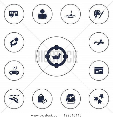 Collection Of Joystick, Jigsaw, Frogman And Other Elements.  Set Of 13 Hobbie Icons Set.