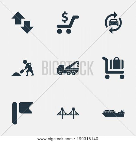 Elements Banner, Opposite Arrows, Auto Service And Other Synonyms Rope, Lifting And Truss.  Vector Illustration Set Of Simple City Icons.