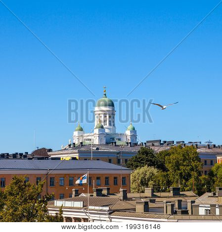 Beautiful view of famous Helsinki Cathedral at sunny day, Helsinki, Finland