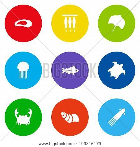 Collection Of Tortoise, Stingray, Tunny And Other Elements.  Set Of 9 Food Icons Set.