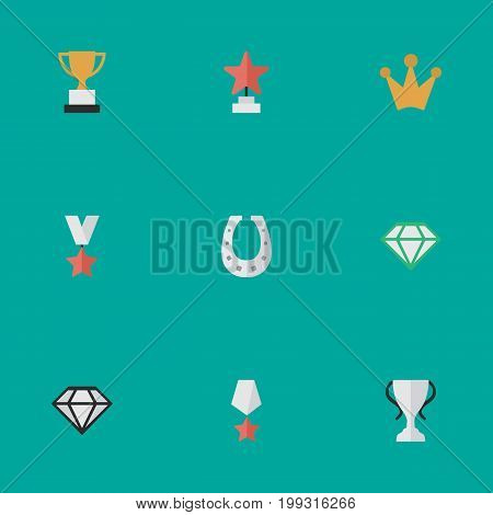Elements Premium, Champion, Corona And Other Synonyms Corona, Chalice And Horseshoe.  Vector Illustration Set Of Simple Achievement Icons.