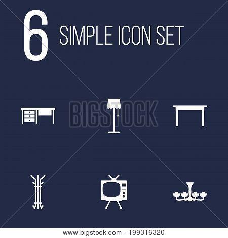 Collection Of Illuminator, Coat Stand, Desk Elements.  Set Of 6 Set Icons Set.