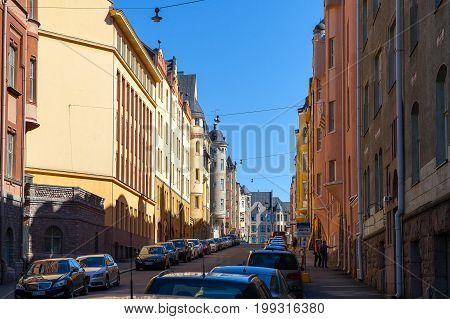 HELSINKI, FINLAND - 01 AUG 2015. Streets and buildings of Katajanokka island
