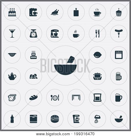 Elements Hot Dog, Cocktail, Stove And Other Synonyms Table, Maker And Wheat.  Vector Illustration Set Of Simple Cuisine Icons.
