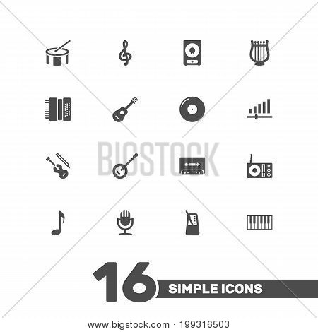 Collection Of Radio, Karaoke, Knob And Other Elements.  Set Of 16 Song Icons Set.