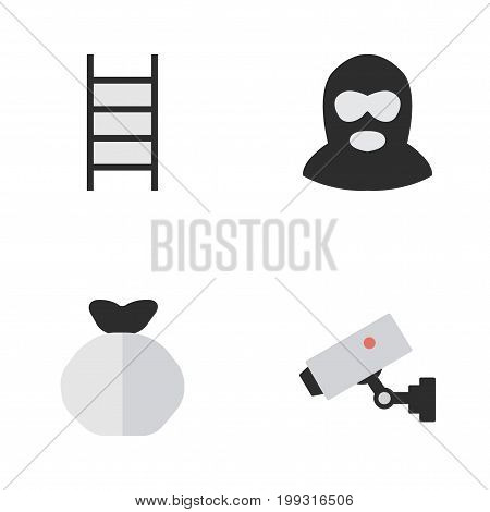 Elements Stairs, Moneybox, Criminal And Other Synonyms Climbing, Sack And Security.  Vector Illustration Set Of Simple Criminal Icons.