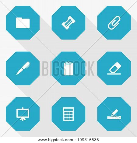Collection Of Rubber, Information, Folder And Other Elements.  Set Of 9 Instruments Icons Set.