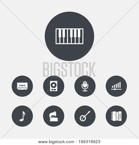 Collection Of Octave Keyboard, Amplifier, Knob And Other Elements.  Set Of 9 Melody Icons Set.