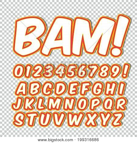 Comic alphabet set. Letters, numbers and figures for kids' illustrations websites comics banners