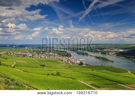 Panorama of the city of Ruedesheim from viewpoint Niederwalddenkmal Hessen Germany