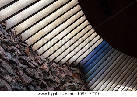 Granite and light stripes window interior. Church in the Rock, Helisinki, Finland