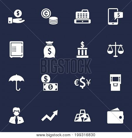 Collection Of Umbrella, Balance, Cashbox And Other Elements.  Set Of 16 Finance Icons Set.