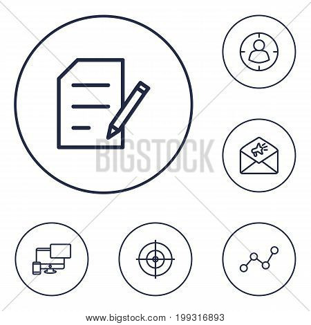 Collection Of Web Design, Targeting, Goal And Other Elements.  Set Of 6 Optimization Outline Icons Set.