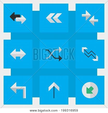 Elements Everyway, Orientation, Chaotically And Other Synonyms Northwest, Backward And Boom.  Vector Illustration Set Of Simple Indicator Icons.
