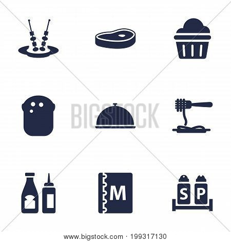 Collection Of Sweet, Canape, Tray And Other Elements.  Set Of 9 Bar Icons Set.
