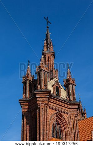 St Anne's church in Vilnius, Lithuania. Architectural details. UNESCO world heritage site. 15-th century