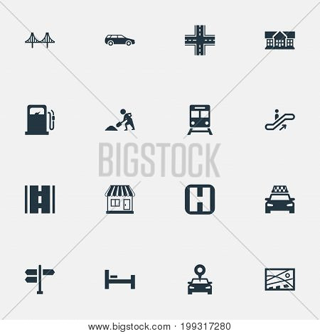 Elements Digging Worker, Petrol-Station, Car And Other Synonyms Bed, Building And Map.  Vector Illustration Set Of Simple Urban Icons.