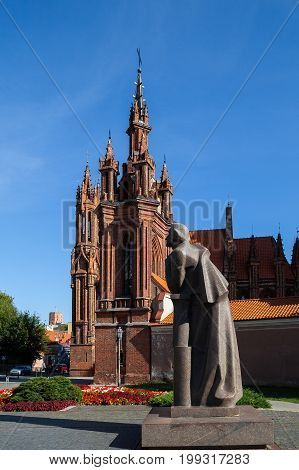 St. Anna's Church and monument to Adam Mickiewicz, Vilnius, Lithuania. Popular tourist place