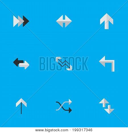 Elements Onward, Chaotically, Import And Other Synonyms Internet, Forward And Shuffle.  Vector Illustration Set Of Simple Pointer Icons.