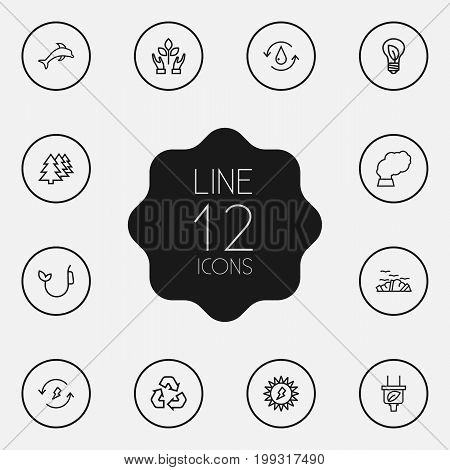 Collection Of Water, Afforestation, Plug And Other Elements.  Set Of 12 Atmosphere Outline Icons Set.